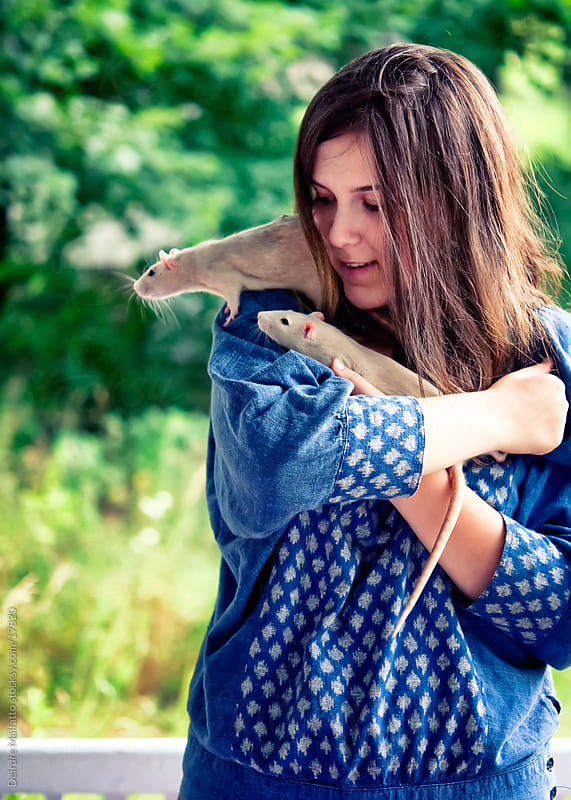 Teen Girl with Two Pet Rats by Deirdre Malfatto for Stocksy United