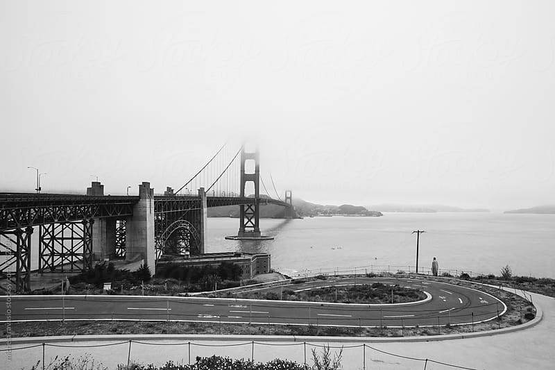 Golden Gate Bridge in the morning, black and white by michela ravasio for Stocksy United