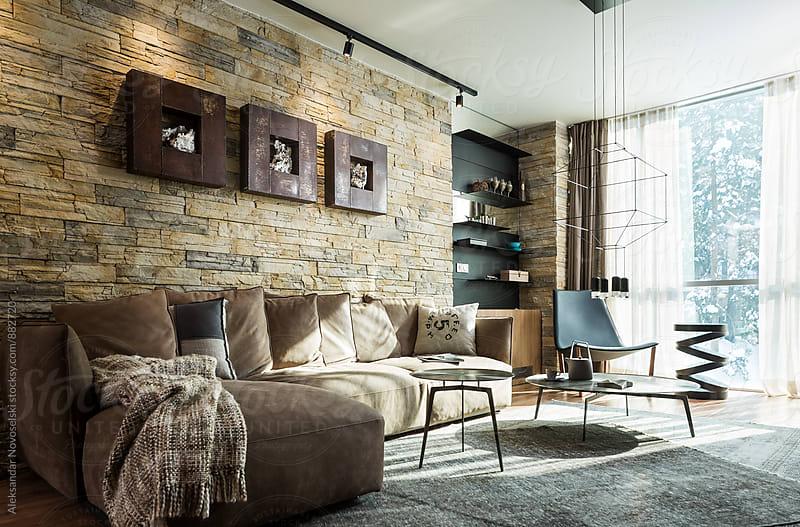 Modern living room in contemporary interior by Aleksandar Novoselski for Stocksy United