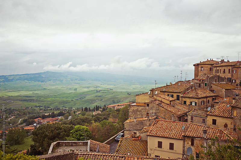 The Red Roofs and Landscape of Montepulciano in Tuscany Region of Italy by Joselito Briones for Stocksy United