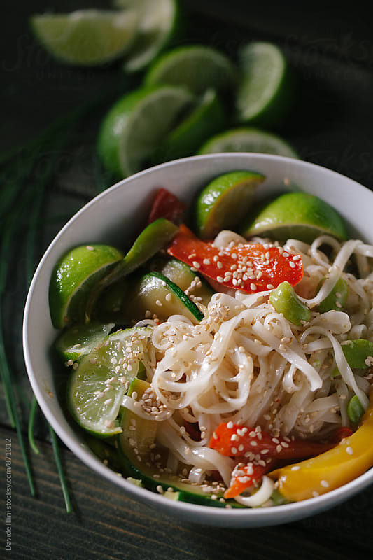 Noodles with mixed vegetable by Davide Illini for Stocksy United
