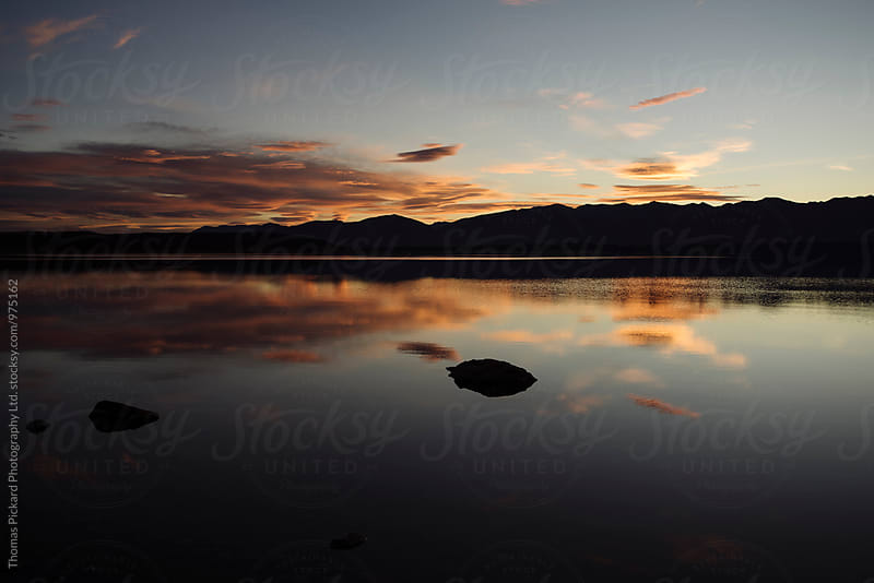 Sunset over Lake Pukaki, near Aoraki / Mt Cook, New Zealand. by Thomas Pickard for Stocksy United