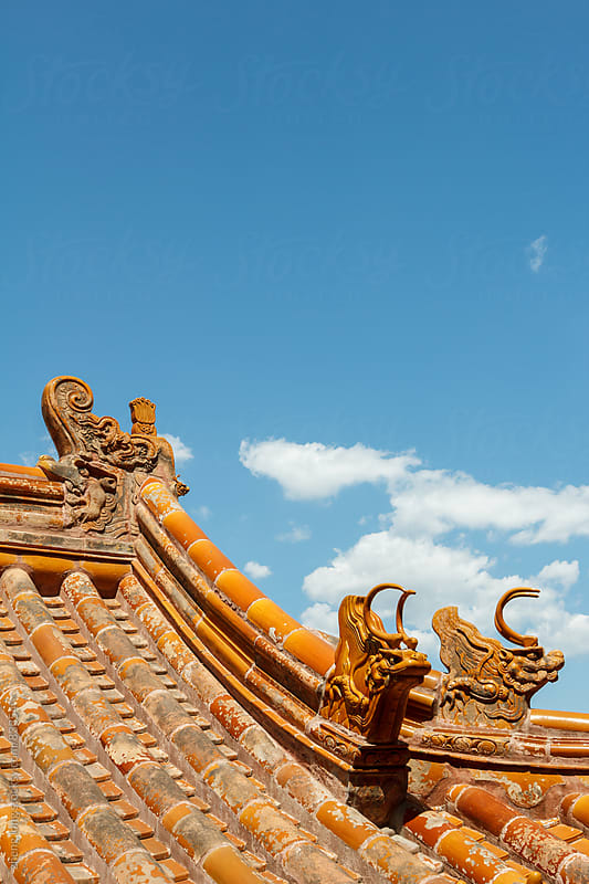 Yellow glazed roof, Chinese traditional architecture, the Summer Palace,Beijing by zheng long for Stocksy United