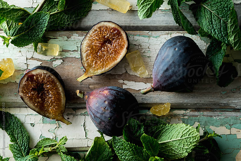 Raw Figs and Mint by Jeff Wasserman for Stocksy United