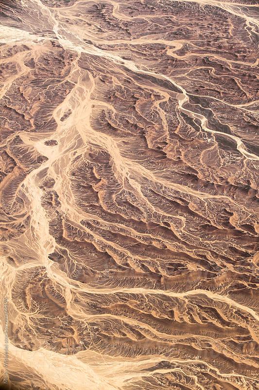 Aerial landscape of desert tributaries of the Sinai Peninsula by Micky Wiswedel for Stocksy United