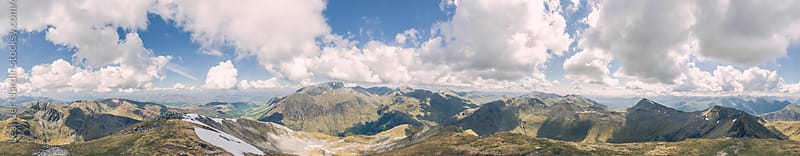 Panorama shot of scottish Mountains by Leander Nardin for Stocksy United