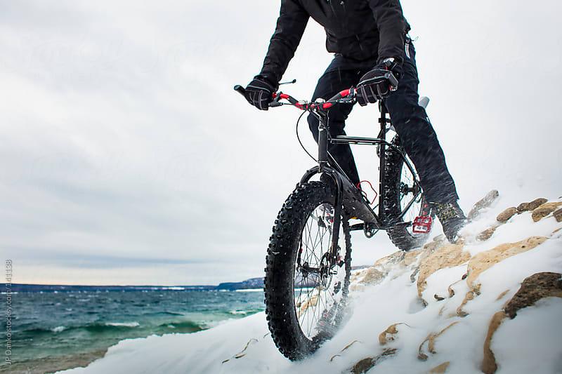 Extreme Winter Sport Winter Mountain Biking In Snow by JP Danko for Stocksy United