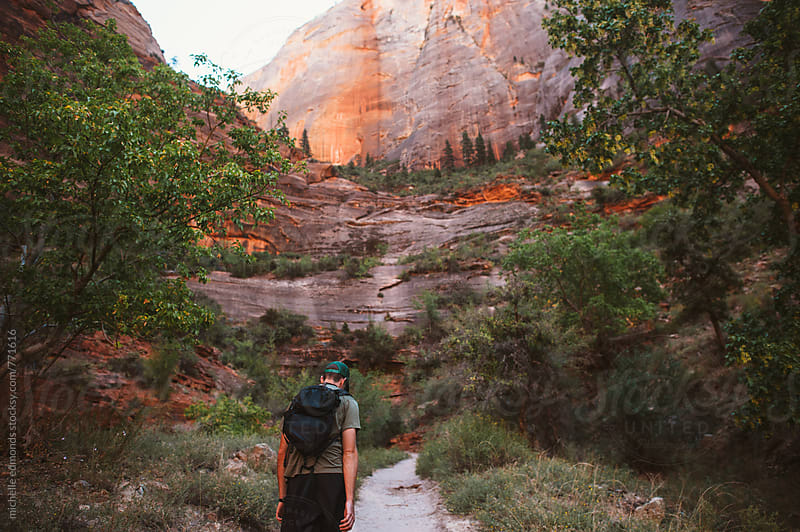 Hiking in Zion National Park by michelle edmonds for Stocksy United