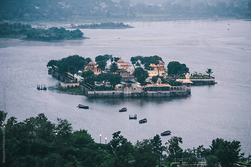 Palace on small island on Lake Pichola, Udaipur, India by Alejandro Moreno de Carlos for Stocksy United