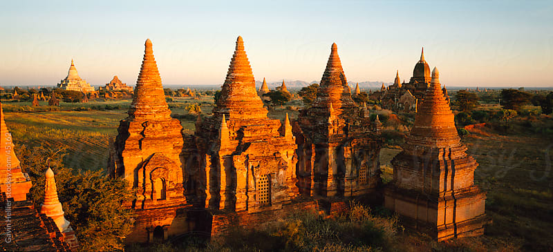 View over the old temples and pagodas of the ruined city of Pagan, Bagan, Myanmar, Asia  by Gavin Hellier for Stocksy United