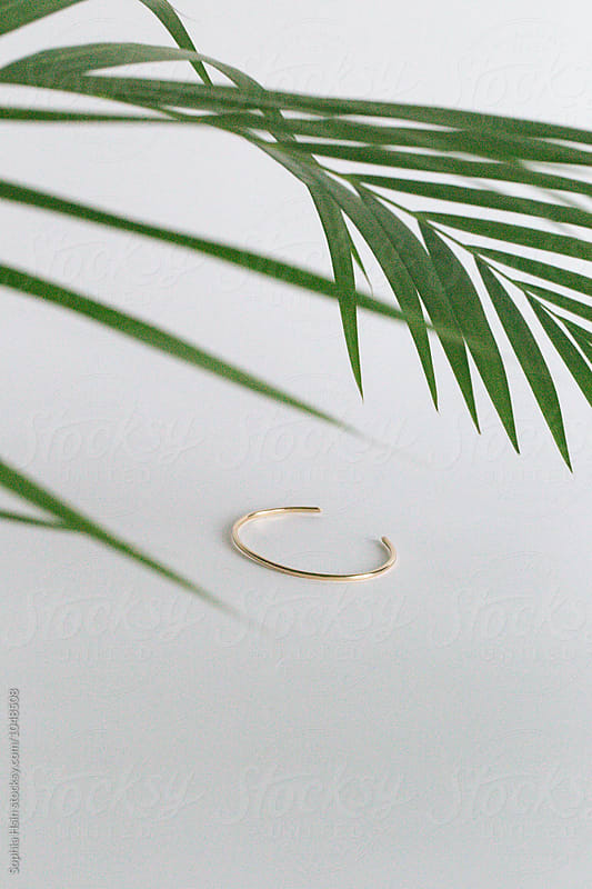 Gold band with green leaf by Sophia Hsin for Stocksy United