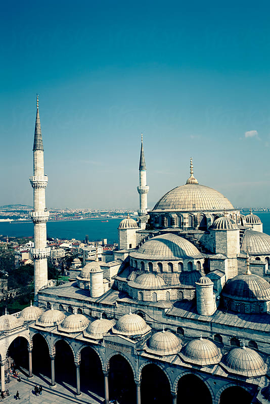 Rare view from one of the minarets of The Blue Mosque. Istanbul with the Bosphorus in the background. Turkey. by Hugh Sitton for Stocksy United
