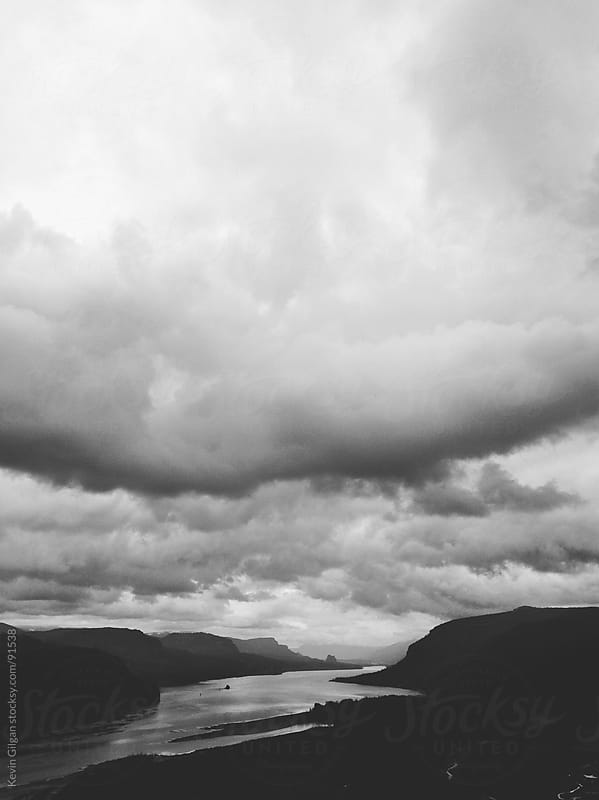 Dramatic Clouds Over Columbia River Gorge by Kevin Gilgan for Stocksy United