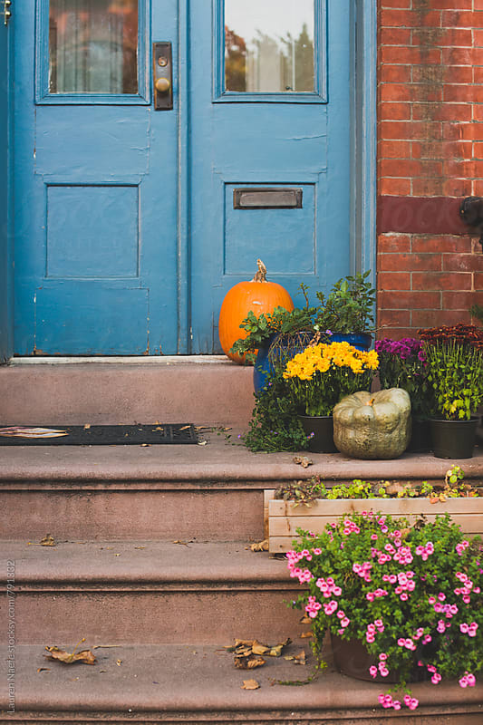 Pumpkin and plants on stoop by Lauren Naefe for Stocksy United
