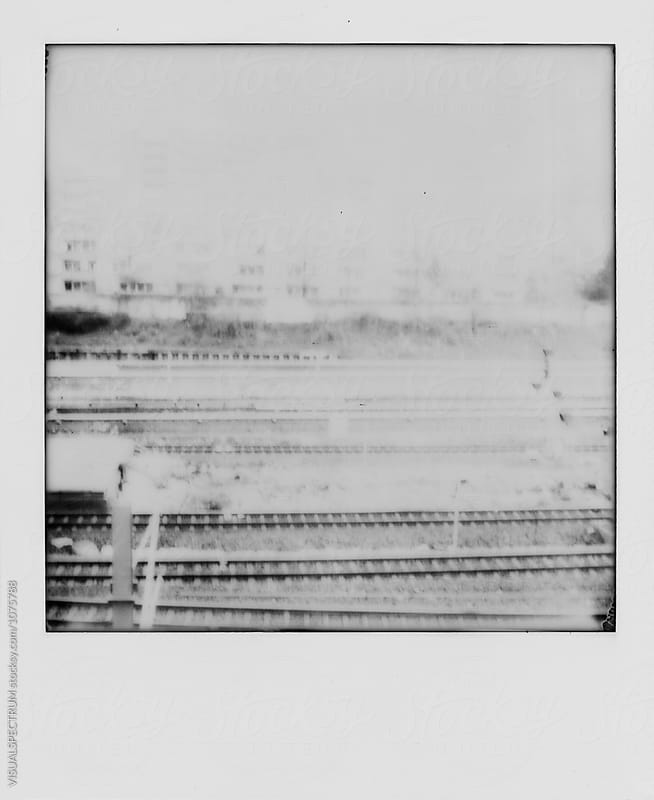 Retro Black and White Polaroid of Railway Tracks by Julien L. Balmer for Stocksy United