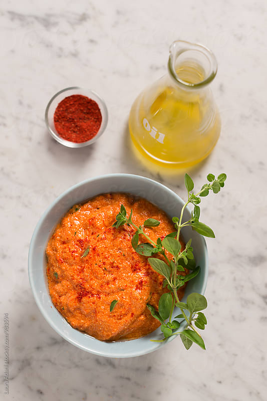 Red pepper and tofu sauce by Laura Adani for Stocksy United