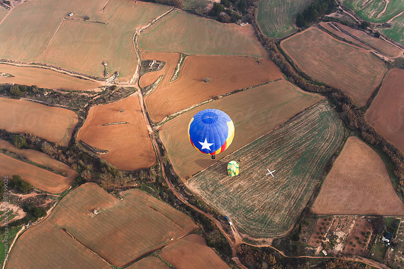 Aerial view from ballon tour, Igualada, Spain. by German Parga for Stocksy United