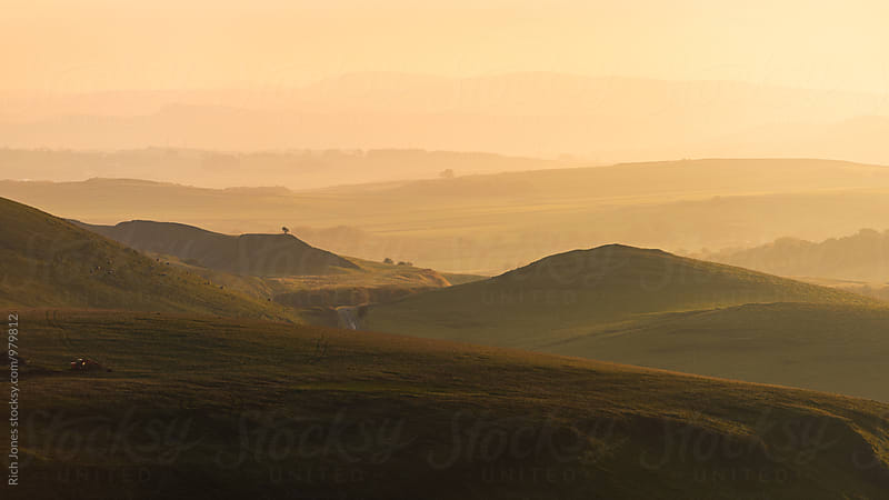 Sunset over Hope Valley, Peak District by Richard Jones for Stocksy United