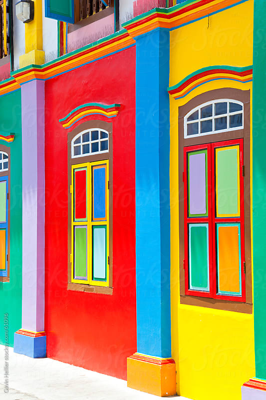 South East Asia, Singapore, Little India, Colourful Painted house facade by Gavin Hellier for Stocksy United