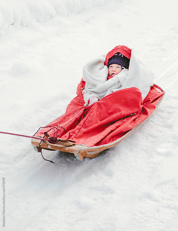 Baby in Sled in the Snow by Stephen Morris for Stocksy United