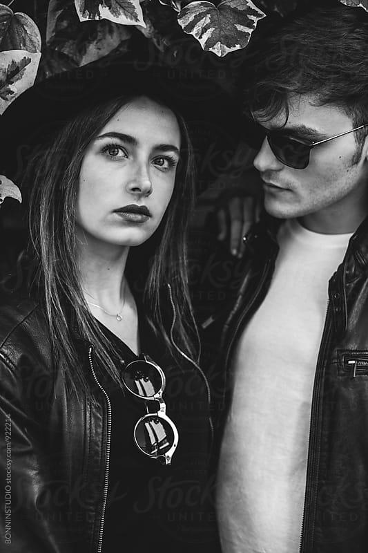 Closeup portrait of alternative couple . by BONNINSTUDIO for Stocksy United
