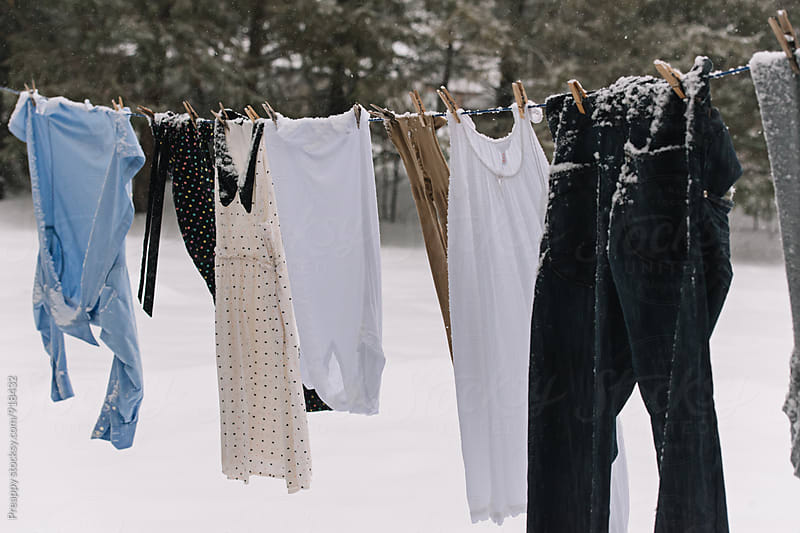 Clothes line in winter by Preappy for Stocksy United
