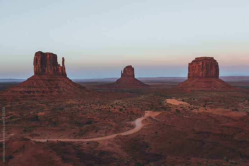 Landscape of Monument Valley after sunset by michela ravasio for Stocksy United