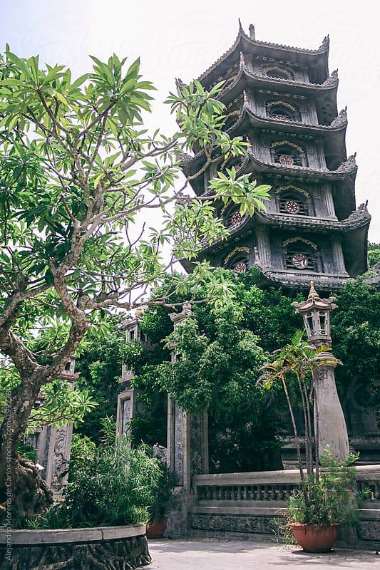 Asian temple and zen garden by Alejandro Moreno de Carlos for Stocksy United