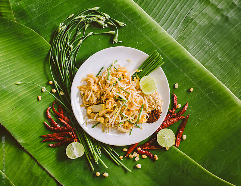 Pad Thai styling on banana leaves by Nabi Tang for Stocksy United