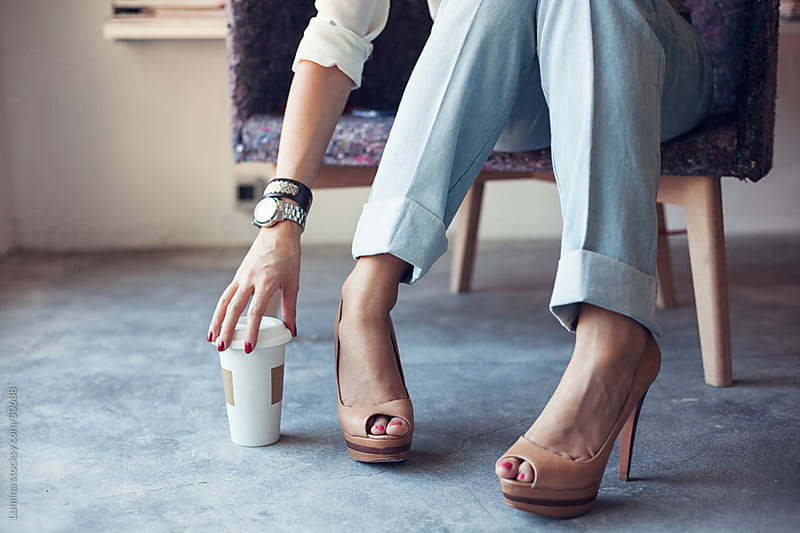 Businesswoman's Legs and Take Away Coffee by Lumina for Stocksy United