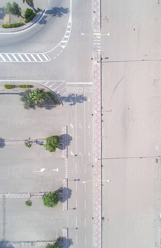 aerial view looking down on a street by Luca Pierro for Stocksy United