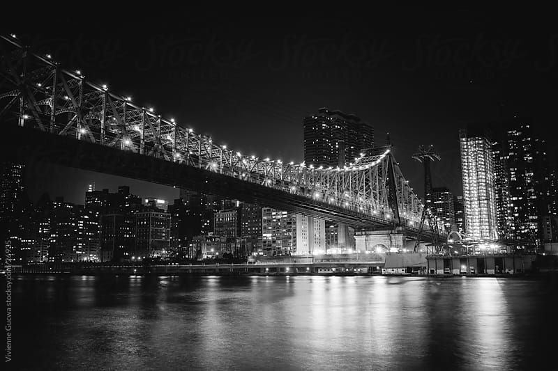 New York City at Night: 59th Street Bridge and Skyline by Vivienne Gucwa for Stocksy United