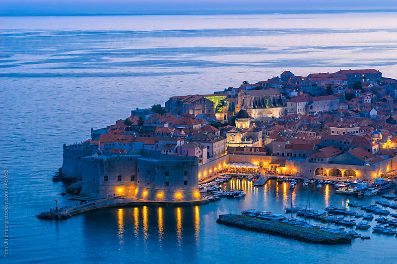 Dubrovnik, Croatia - Elevated View of the Old Town at Night by Tom Uhlenberg for Stocksy United