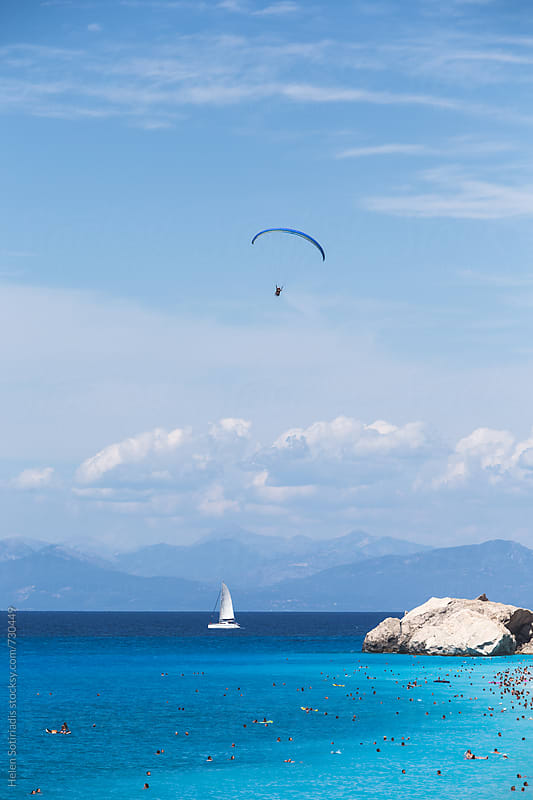 Seascape with Sailing and Paragliding by Helen Sotiriadis for Stocksy United