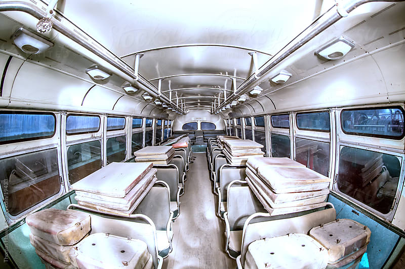 old bus interior by Thomas Hawk for Stocksy United