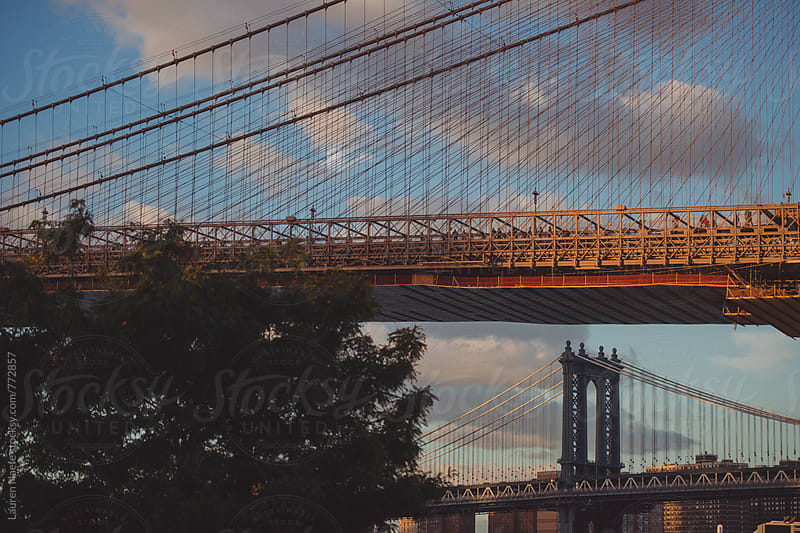 New York City bridges at sunset by Lauren Naefe for Stocksy United