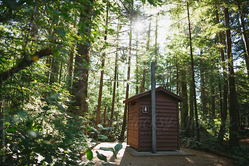 Campground outhouse by Rob and Julia Campbell for Stocksy United