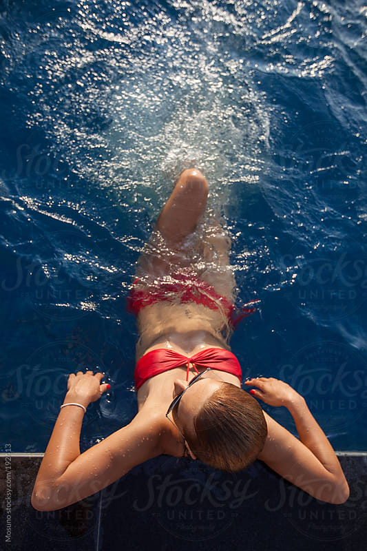 Overhead Shot of a Woman in the Swimming Pool by Mosuno for Stocksy United