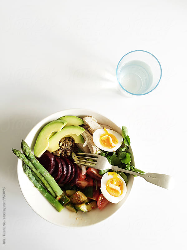 A healthy 'Buddha Bowl' meal for one by Helen Rushbrook for Stocksy United