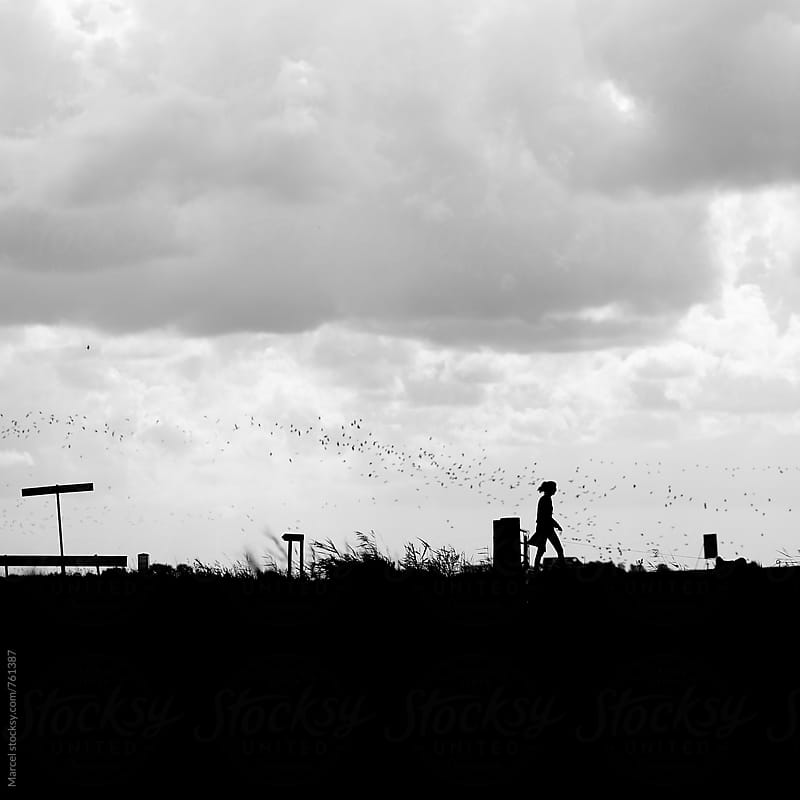 Silhouetted girl walking the dog on a rural road in Holland by Marcel for Stocksy United