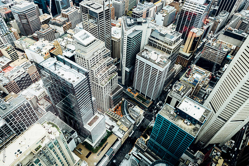 View of city skyscrapers from above by Trent Lanz for Stocksy United