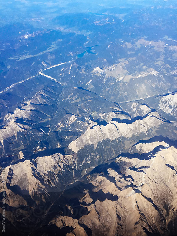 Aerial view of the European Alps by Good Vibrations Images for Stocksy United