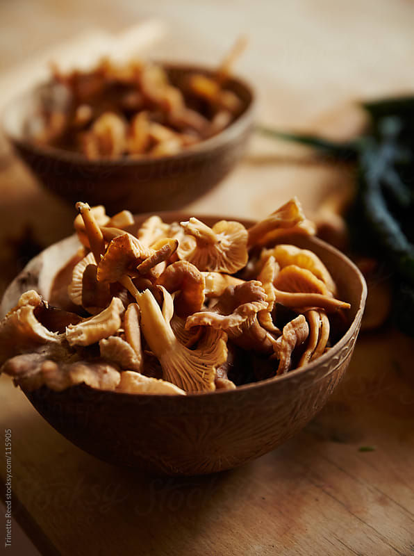 Chanterelle mushrooms in wood bowl on kitchen counter by Trinette Reed for Stocksy United
