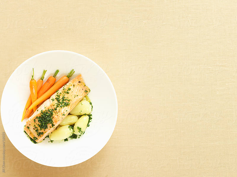 Healthy Salmon Dinner by Jill Chen for Stocksy United