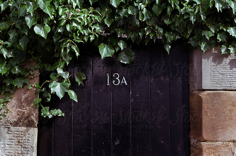 Vine-covered wooden door in garden wall in Edinburgh by Joey Pasco for Stocksy United