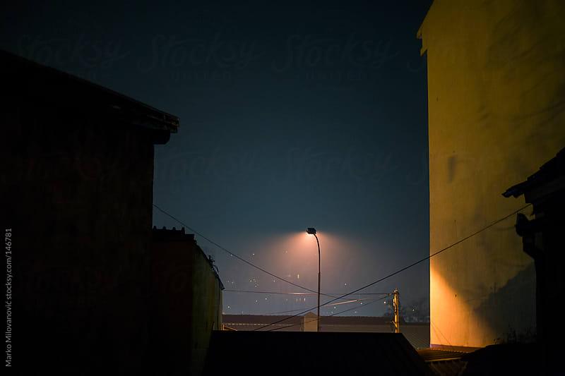 Street lampion, night atmosphere by Marko Milovanović for Stocksy United