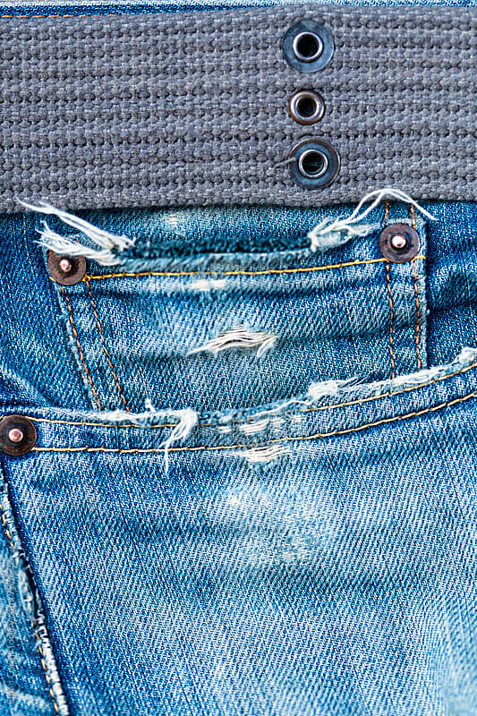 Denim Pocket and Belt Close-Up Still Life Background by Eldad Carin for Stocksy United