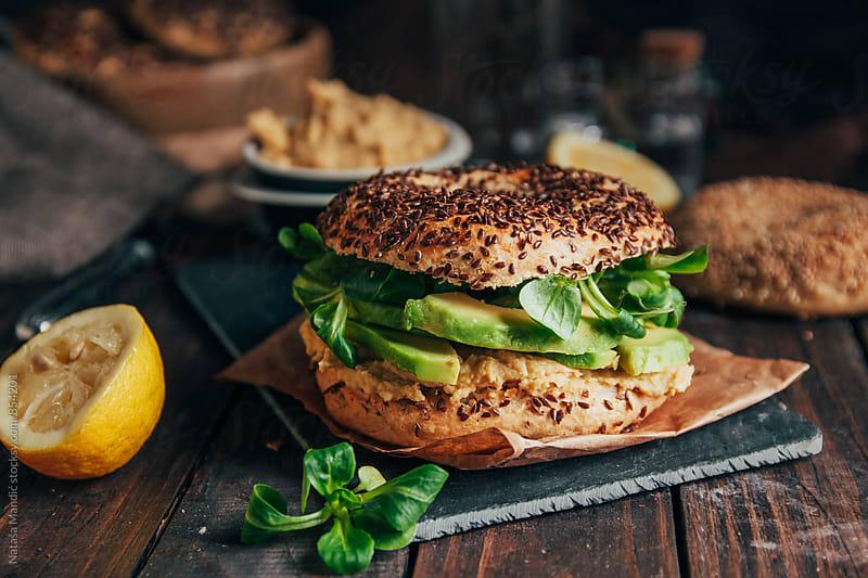 Bagel sandwich by Nataša Mandić for Stocksy United