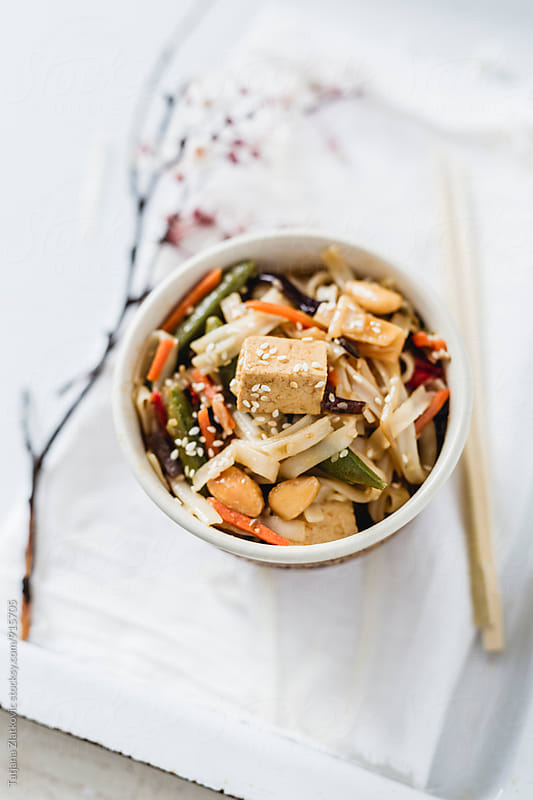 Noodles with tofu and vegetables by Tatjana Zlatkovic for Stocksy United
