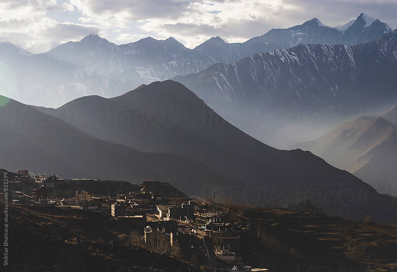 The town of Muktinath (3800m) in Mustang, Nepal. by Shikhar Bhattarai for Stocksy United